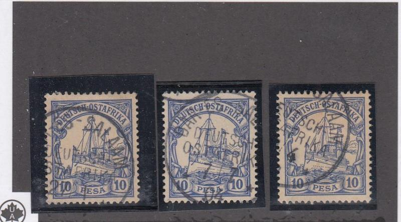 GERMAN EAST AFRICA # 14 x 3 VF-VARIOUS CANCELS COLLECTED FOR CANCELS