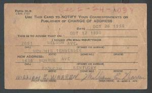 1950 U.S.Post Office Dept Official Business Card Form #22-BTo Notify See Info
