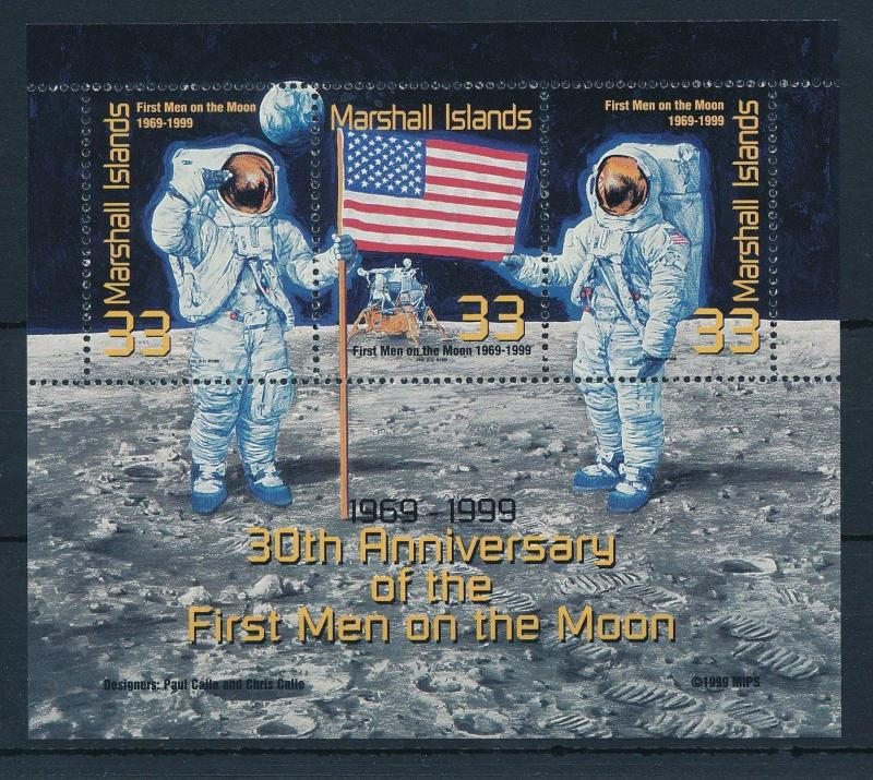 [24413] Marshall Islands 1999 Space travel first men on the moon MNH