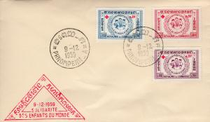 Cambodia 1959 Sc#B8/10 RED CROSS OVPT (3) FDC