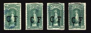Manitoba 10c-$1 Law Stamp Revenue CF Used Lot 4 items