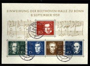 Germany  Scott 804 Beethoven  Lovely Used Souvenir Sheet