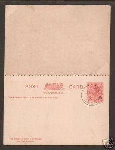 Victoria H&G 22 used. 1901 1p Double Post Card