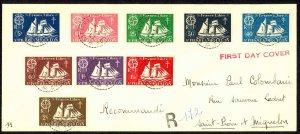 St. Pierre & Miquelon Sc# 300-308 FDC 1942 8.17 St. Malo Fishing Schooner