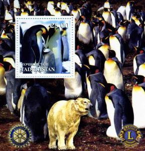 Tadjikistan 2001 PENGUINS Lions & Rotary Emblem s/s Perforated Mint (NH)