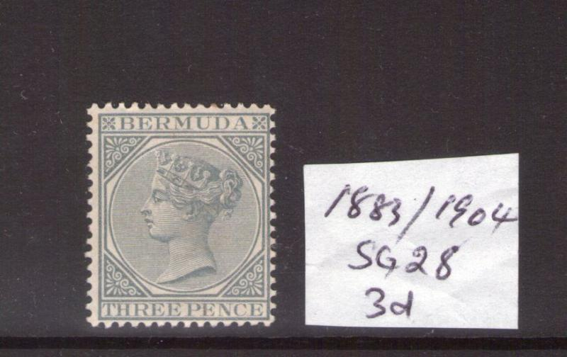 BERMUDA Victoria 1884/04 SG 28 3d  Grey. lightly hinged condition.