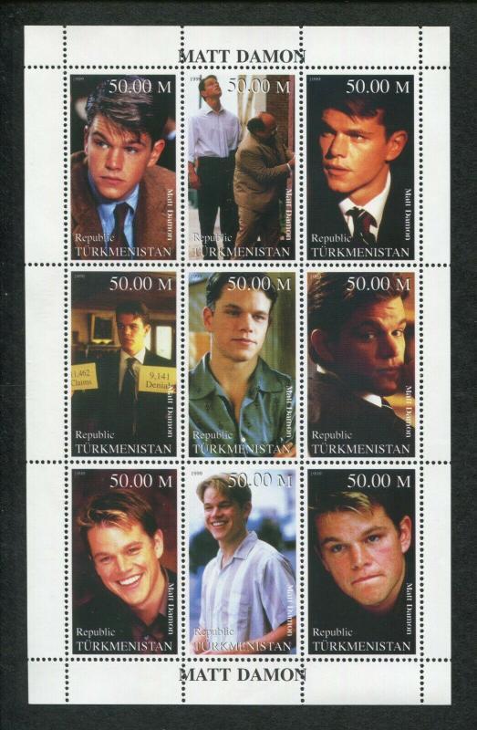 Turkmenistan Commemorative Souvenir Stamp Sheet - Hollywood Actor Matt Damon