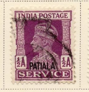Indian States Patiala 1940-45 Early Issue Fine Used 1/2a. Optd 084687