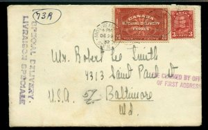 3c surface to USA 20c Special Delivery fee 1932 cover Canada
