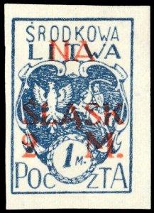 CENTRAL LITHUANIA / MITTELLITAUEN - 1921 Mi.24B 2M/1M Mint* - ref.881h