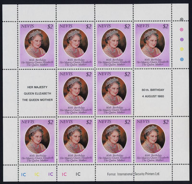 Nevis 113 Sheet 1C MNH Queen Mother 80th Birthday