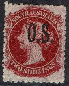SOUTH AUSTRALIA 1891 QV OS 2/- OVERPRINT SG TYPE O2 PERF 11½ - 12½