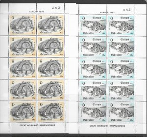 Gibraltar 310-2 + more, 4 MNH sets in sheets of 10, vf. see desc. 2020 CV$26.50