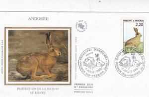 Andorra 1988 Nature Protection Hare Silk Unadressed FDC