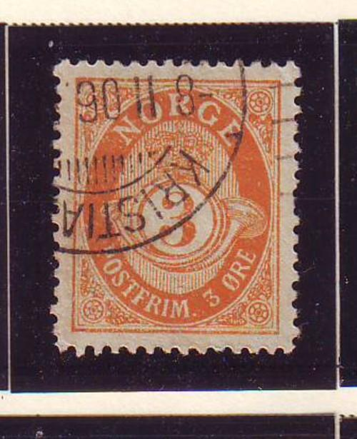 Norway Sc 49 1893 3 ore post horn stamp used