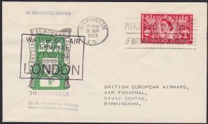 GB 1953 BEA 8d airmail stamp on helicopter flowm cover London to Birmingham.5625