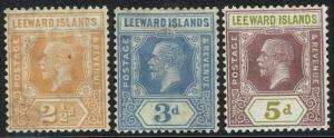 LEEWARD ISLANDS 1921 KGV 21/2D 3D AND 5D WMK MULTI SCRIPT CA