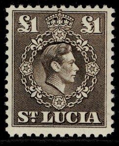 ST. LUCIA GVI SG141, £1 sepia, M MINT. Cat £16.