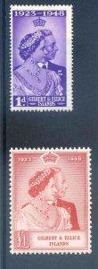 Gilbert & Ellice 1948 Silver Wedding SG57/8 Unmounted Mint