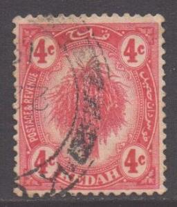 Malaya Kedah Scott 7 - SG21, 1919 Sheaf of Rice 4c used