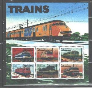 REPUBLIQUE GABONAISE 2000   TRAINS'  MS#991. MNH
