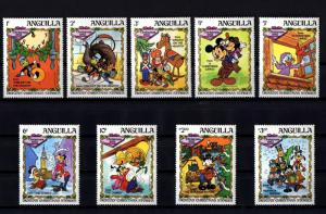 ANGUILLA - 1983 - DISNEY - DICKENS CHRISTMAS - MICKEY - SCROOGE - 9 X MINT SET!