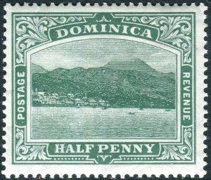 DOMINICA-1907-8 ½d Green WATERMARK SIDEWAYS/REVERSED.  An unmounted Sg 37x