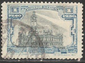 MEXICO 627, $1Peso VERACRUZ LIGHTHOUSE, USED. F-VF. (1358)