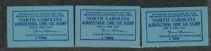 North Carolina State Revenue Stamp Sc#LM29-LM30 M/1H 2NH/VF, Lime