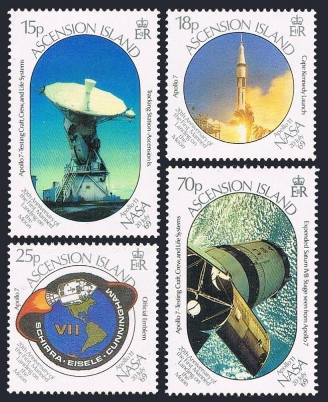 Ascension 468-471, Mnh.michel 497-500. Lune Atterrissage, 20th Ann.1989