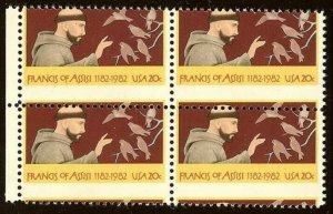 2023 - Misperf Error / EFO Block of 4 Francis of Assisi St. Francis Mint NH