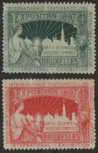 International Exposition 1897 Bruxelles Arts Science Industry Commerce labels-x9