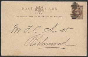NATAL 1894 ½d postcard : Barred 2 cancel to Richmond.......................49733