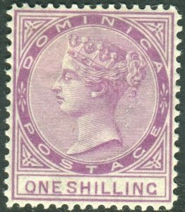 DOMINICA-1877-79 1/- Magenta.  A mounted mint example Sg 9