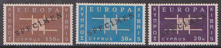 Cyprus - 1963 Europa Set with SPECIMEN Ovpt. VF-NH (SPEC.229-231)
