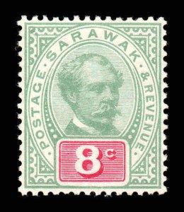 Sarawak 1888 8c green & carmine SG 14 mint