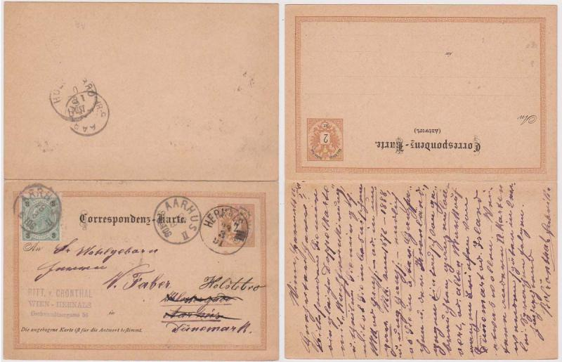 Austro-Hungarian Empire 1891 Complete Two Part Reply Card to Denmark