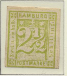 Hamburg (German State) Stamp Scott #12, Mint, Original Gum, Large Hinge Remna...