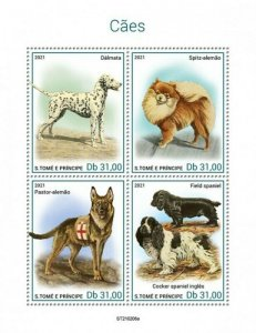 St Thomas - 2021 Dog Breeds, Spitz, Shepherd, Spaniel - 4 Stamp Sheet ST210206a