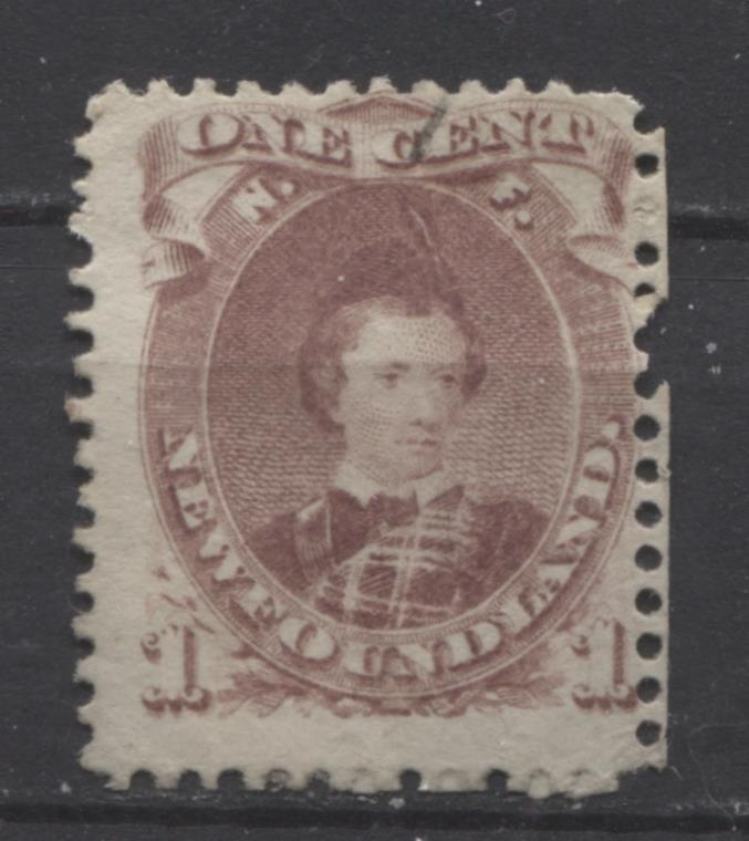 Newfoundland #32A 1c Brown Lilac 1871 Cents Issue Perf. 12 Thick Paper G-45 Used
