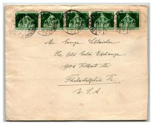 Germany 1936 Cover / Strip of 5 / 25Pf Rate / Light Fold - Z13975