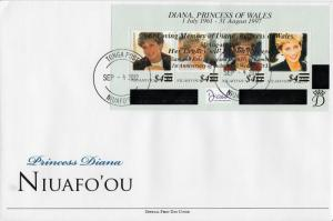 Niuafo'ou 2012 FDC Princess Diana Overprint 4v M/S 1st Wedding Ann William Kate