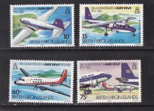 Virgin Islands, # 434-437, Air BVI Anniversary, MNH