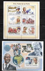 Comoro Islands 1061-62 Nobel Prize Winners Mint NH