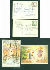 Sweden. 2 Christmas Card 1955. Children,Toys,Tree,Church. Stamp 10 Ore.  Used
