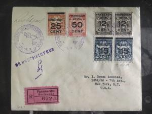 1929 Suriname First Flight Cover FFC To New York Usa Flown By Lindbergh