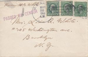 1918, USS Raleigh, C-8 to Brooklyn, NY, Censored, See Remark (N2906)