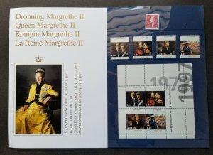 Denmark Silver Jubilee Queen Margrethe II 1997 Royal (folder set) MNH *see scan