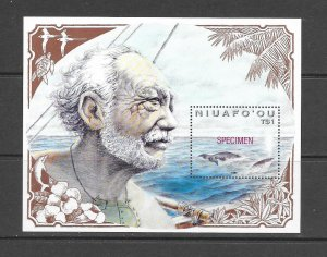 WHALES - NIUAFO'OU #133  RED SPECIMEN OVERPRINT  MNH