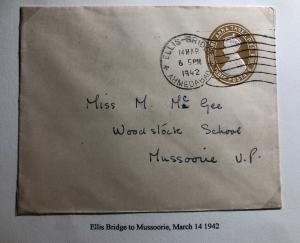 1942 Ahmedabad India Rate Increased Stationary Letter Cover To Mussoorie